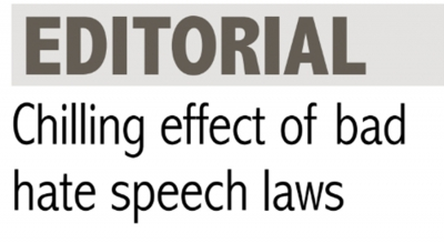 Chilling effect of bad hate speech laws